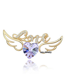 Rave violet Purple Brooch Alloy Crystal Brooches