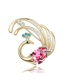 (18K+rose red) Luxury romantic Austrian crystals brooch-FirePhoenix