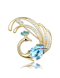 Pendant sea blue Blue Brooch Alloy Crystal Brooches