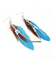 Floral Blue Feather Decorated With Bead