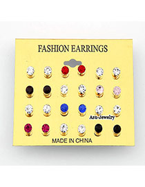 (Color will be random) Koeran fashion decorated with rhinestones charm design studs earring (12pair price)