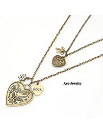 Bendable Bronze Double Heart Pendant Alloy Chains