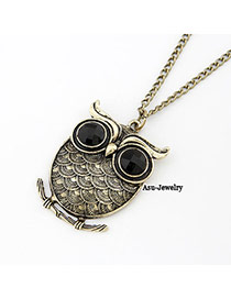 Masonic Bronze Squama Owl Pendant Alloy Korean Necklaces