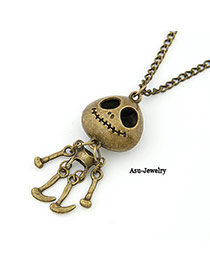 Tummy Bronze Human Skeleton Pendant