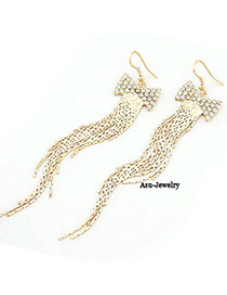 Exquisite Gold Color Bow Tie Long Tassels Alloy Korean Earrings
