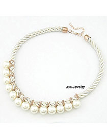 Hot White Handmade Weave Imitate Pearl Alloy Beaded Necklaces
