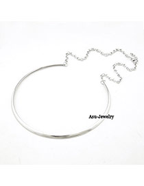 Rugged Silver Color Shiny Side Charm Design Alloy Chains