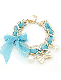 Military Blue Lace Bow Design Alloy Korean Fashion Bracelet