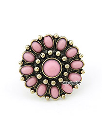 Fashion Silver Color Pom Balls Decorated Pure Color Simple Pom Ring