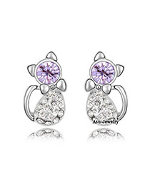 Authentic Purple Earrings Alloy Crystal Earrings