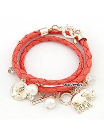 Friendship Orange Elephant Pendant PU Korean Fashion Bracelet