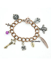 Milly Brown Vintage Key Feather Alloy Korean Fashion Bracelet