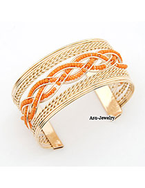 Rugged Gold Color Knit Measle Alloy Fashion Bangles