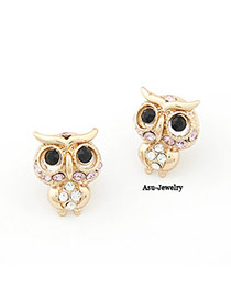 Headrest Gold Color Owl Decorated With Cz Diamond
