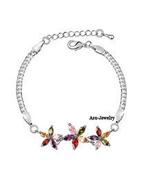 Fresh Multicolour Bracelet Alloy Crystal Bracelets