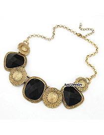 Sample Black Gemstone Square Alloy Bib Necklaces