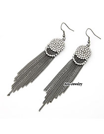 High Waist Antique Silver Long Length Tassels Charm Design Alloy Korean Earrings