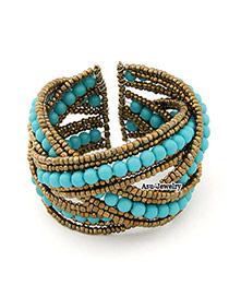 Pentacle Blue Bead Alloy Fashion Bangles