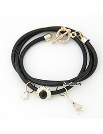 Punk Black Eiffel Tower Pendant PU Korean Fashion Bracelet