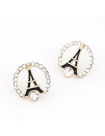 Homecoming Black A Shape Iron Tower Design Alloy Stud Earrings
