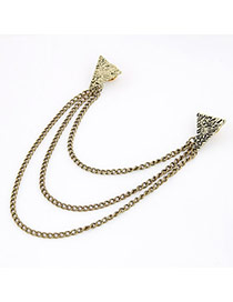 Magnifying Bronze Triangle Tassels Alloy Korean Brooches