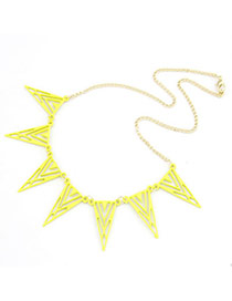 Shade Yellow Hollow Out Triangle Shape Alloy Bib Necklaces