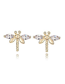 Japanese White Earrings Alloy Crystal Earrings