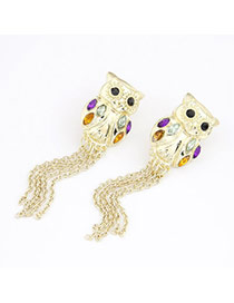 Glossy Gold Color Owl Tassels Charm Design Alloy Stud Earrings