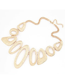 Greek Gold Color Irregular Hollow Out Pendant Alloy Bib Necklaces