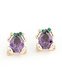 2011 Purple Earrings Alloy Crystal Earrings