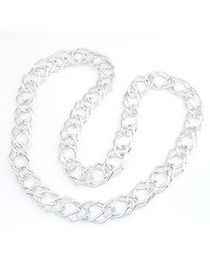 Clutch Silver Color Double Chain Design Alloy Chains