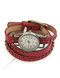 Mobile Red Rivet Pu Leather