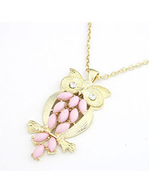 Quilted Pink Owl Alloy Chains