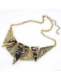 Blank Leopard Geometric Graphics Triangle Pendant Alloy Bib Necklaces
