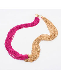Rhinestone Plum Red Tassels Multilayer Design Alloy Bib Necklaces