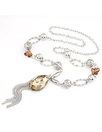 Stylish Silver Color Bow Pendant Tassels Design Alloy Chains