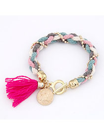 Micro Plum Red Knitting Wool Alloy Korean Fashion Bracelet