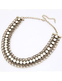 Funny Beige Imitate Gemstone Alloy Bib Necklaces