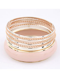 Locket Pink Multilayer Alloy Fashion Bangles