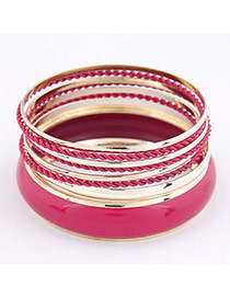 Stronglite Plum Red Multilayer Alloy Fashion Bangles
