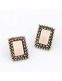 Apparel Bronze Square Shape Design Alloy Stud Earrings