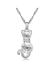 Guardian White Lovely Cat Crystal Crystal Necklaces