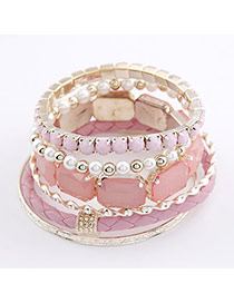 Political Pink Square Shape Multilayer Bead Korean Fashion Bracelet