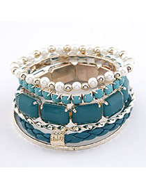 Fused Green Square Shape Alloy Korean Fashion Bracelet