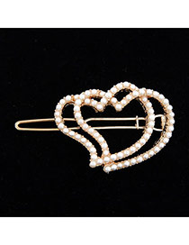 Butterfly White Full With Pearls Heart Linked To Heart Alloy Hair clip hair claw