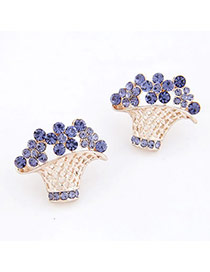 Political Purple Flower Basket Decorated With Cz Diamond Alloy Stud Earrings