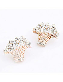 Carters White Flower Basket Decorated With Cz Diamond Alloy Stud Earrings
