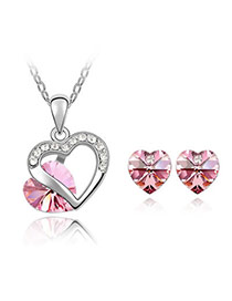 Parker Plum Red Set-Heart Appointment Alloy Crystal Sets