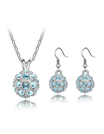 Authentic Sea Blue Set-Delicately Prettyr Alloy Crystal Sets