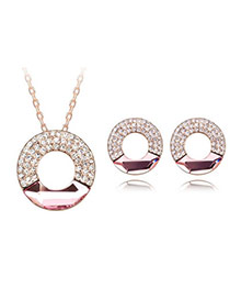Rent light plum red Set-Concentric Circles Alloy Crystal Sets